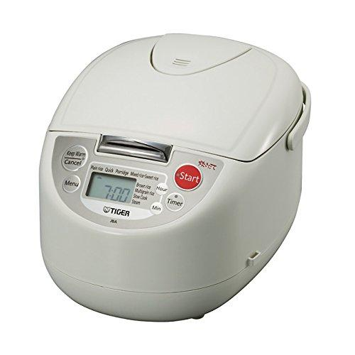 Tiger JBA-A18U-WL 10-Cup (Uncooked) Micom Rice Cooker with Food Steamer & Slow Cooker, White