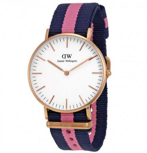 PRESIDENTS' DAY SALE! Daniel Wellington Classic Winchester Eggshell White Dial Navy and Pink Nylon Ladies Watch 0505DW