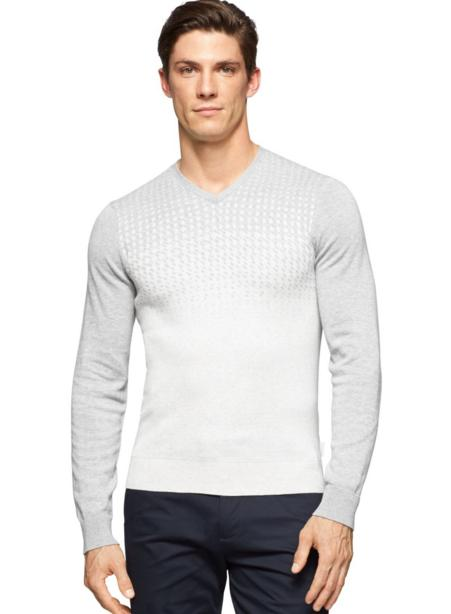 Calvin Klein Men's Cotton Modal Engineered Jacquard V-Neck Sweater @ Amazon