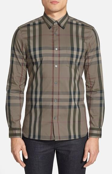 Burberry Brit 'Nelson' Trim Fit Check Sport Shirt On Sale @ Nordstrom