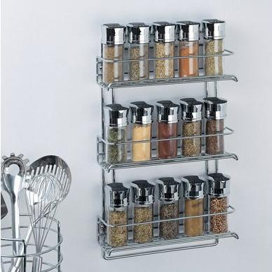 $9.54 Organize It All 3-Tier Wall-Mounted Spice Rack, Chrome 1812