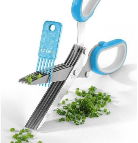 Herb Scissors Best Quality - Easy Clean Multipurpose 5 Stainless Steel Blades Kitchen Shears