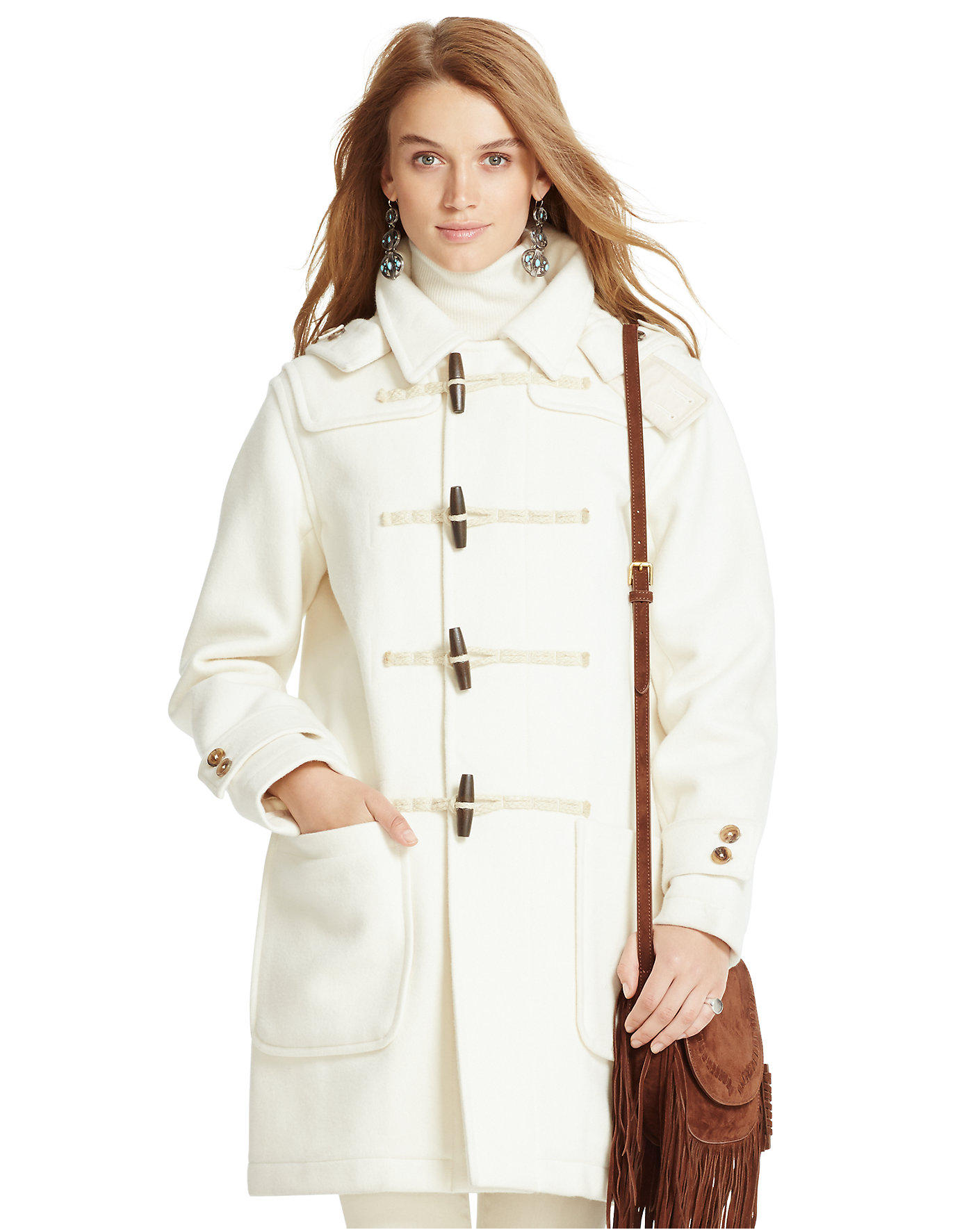 Ralph Lauren Detachable-Hood Wool Coat