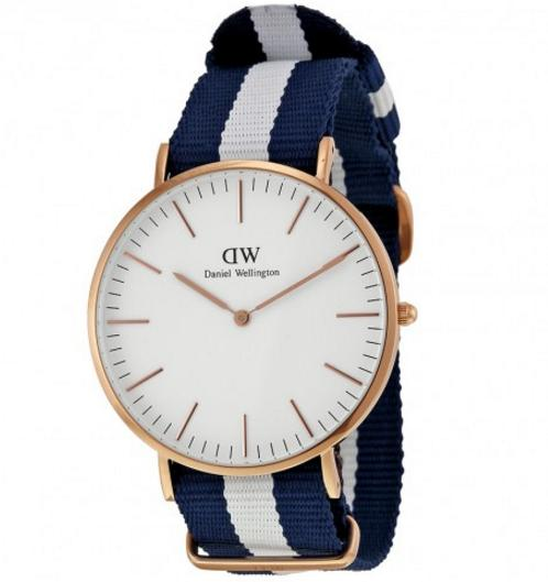 Daniel Wellington Classic Glasgow Eggshell White Dial Blue and White Striped Nylon Men's Watch 0104DW