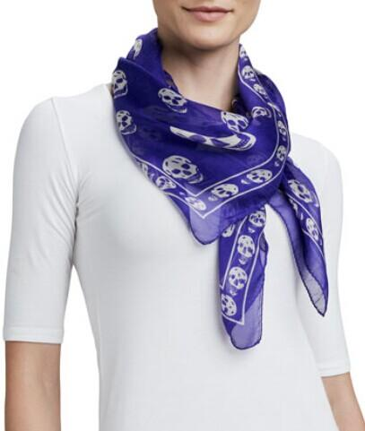 Alexander McQueen  Skull-Print Chiffon Scarf, Purple/White @ LastCall by Neiman Marcus