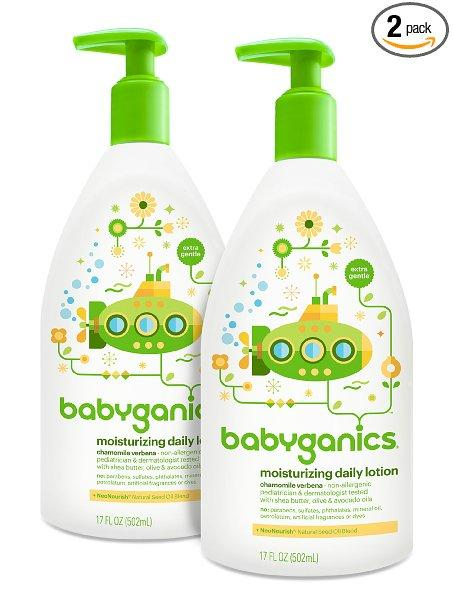 Babyganics Daily Baby Lotion, Chamomile Verbena, 17 Ounce (Pack of 2)
