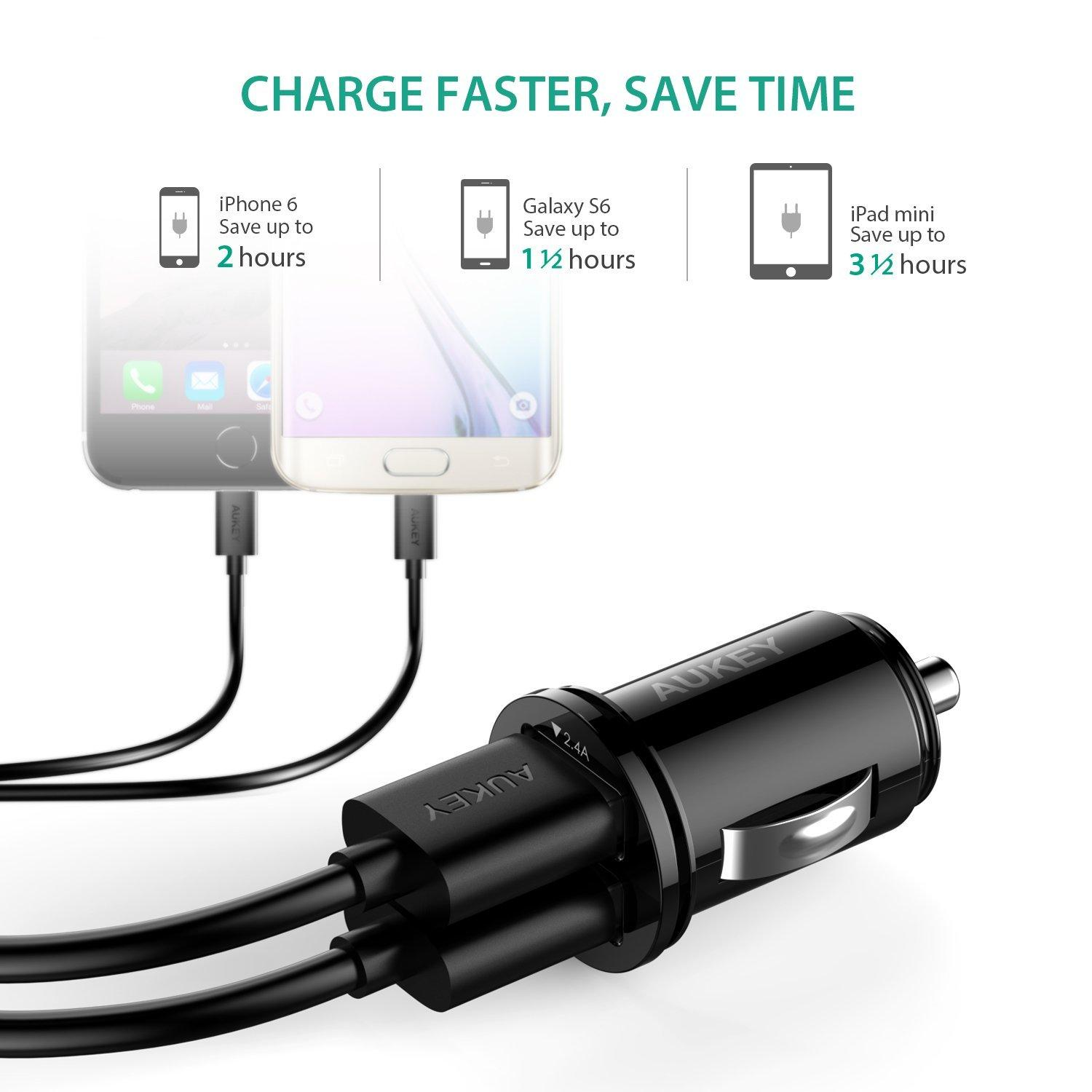 $5.99 Aukey CC-S1 4.8A Dual USB Car Charger for Smartphones