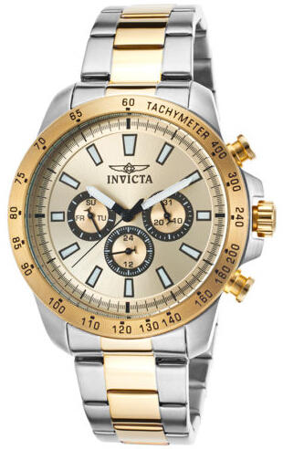 Invicta 20340 Men's Speedway Multi-Function Two-Tone Bracelet Gold-Tone Dial