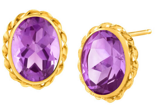 2 1/2 ct Amethyst Button Stud Earrings