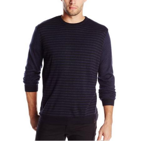 Calvin Klein Men's Merino Striped Crew Neck Sweater