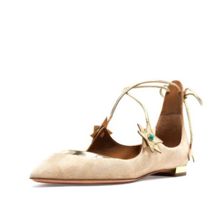$750 + $75 GC Aquazzura x Poppy Delevingne  Midnight Star Suede Ballerina Flat, Light Gold @ Bergdorf Goodman