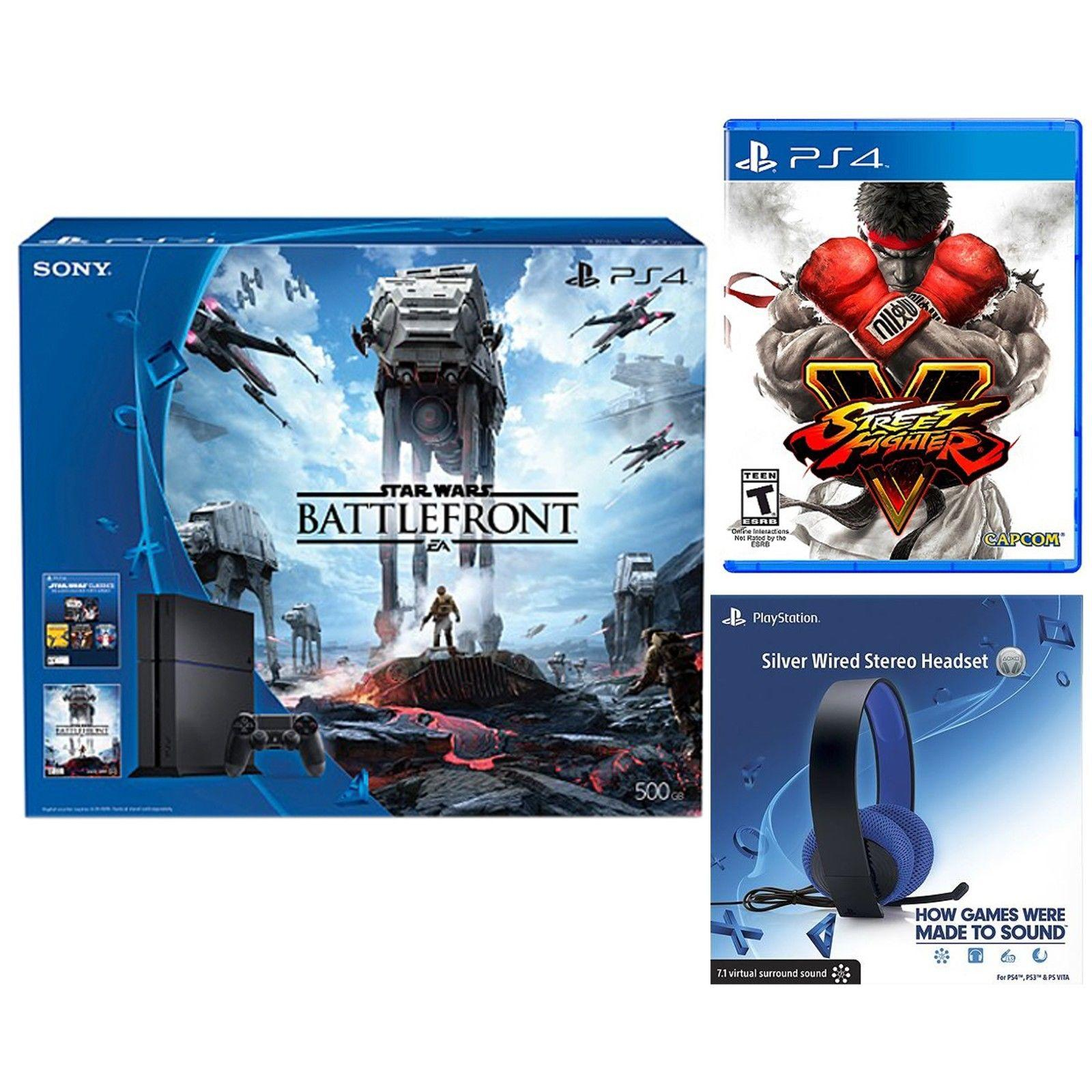 Sony PS4 500GB Star Wars Console + Street Fighter 4 + Sony Silver Wired Headset