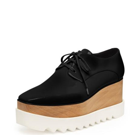 $995 +$75 GIft Card Stella McCartney Faux-Leather Platform Oxford, Black @ Bergdorf Goodman