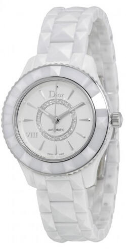 Dior VIII White Diamond-set Dial White Ceramic Ladies Watch CD1235E3C001