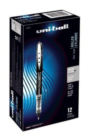 Uni-Ball Vision Elite Stick Micro Point Rollerball Pens, 0.5MM, 12 Black Ink Pens (69000)