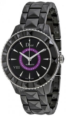 Dior VIII Black Dial Black Ceramic Ladies Watch CD1245E7C001