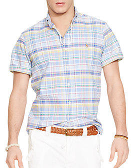Select POLO RALPH LAUREN Short-Sleeved Plaid Oxford Shirt @ Lord & Taylor