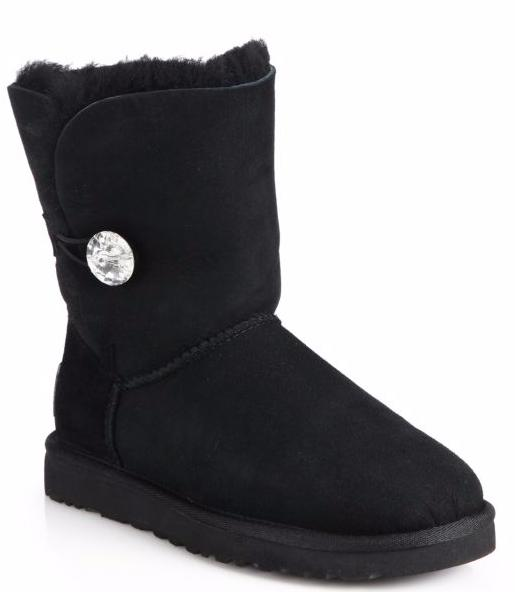 UGG Bailey Jewel-Button Sheepskin-Lined Suede Boots
