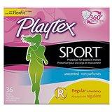 $5.98 Playtex Sport Tampons Multipack, Unscented Regular/Super Absorbency, 36 Count