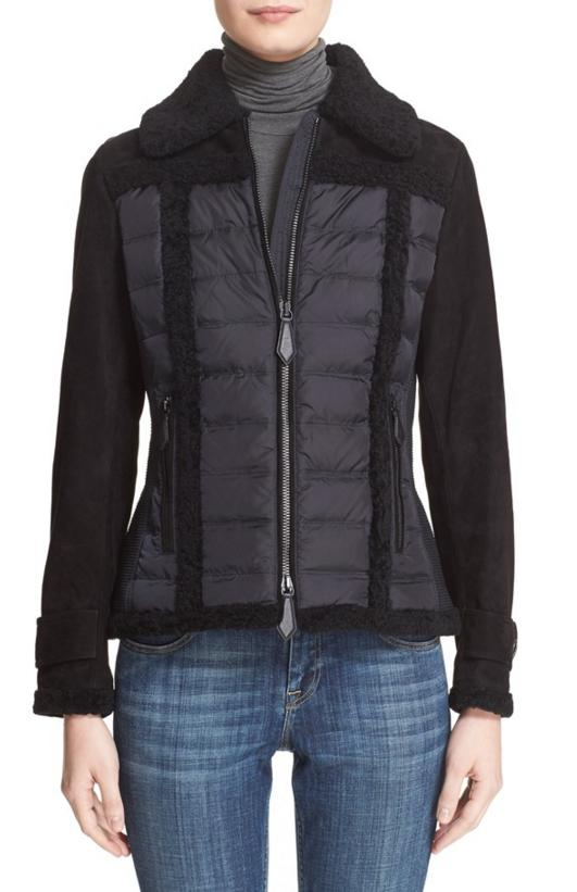 Burberry Brit 'Carrington' Genuine Suede & Shearling Mixed Media Jacket On Sale @Nordstrom