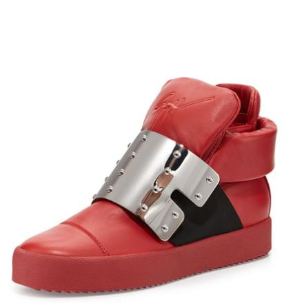 Giuseppe Zanotti Men's Leather High-Top with Plate Front, Red @ Neiman Marcus
