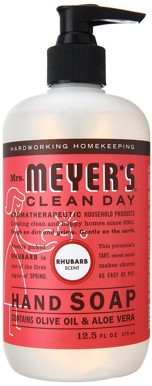 $7.41 Mrs. Meyer's Clean Day Liquid Hand Soap, Rhubarb, 12.5 Fluid Ounce (Pack of 3)