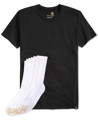 Gold Toe Premier Classic 6-Pack of Men's Crew Athletic Socks & T-Shirt