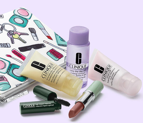 Free 5-Piece Gift and Cosmetics Bag with Any $40 Purchase @ Clinique