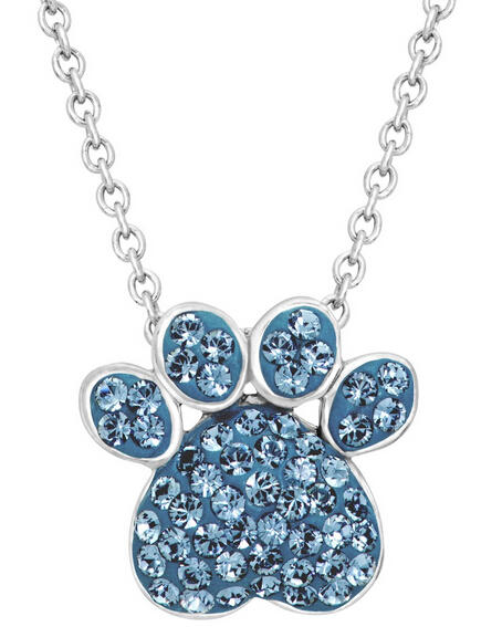 Paw Pendant with Swarovski Crystals
