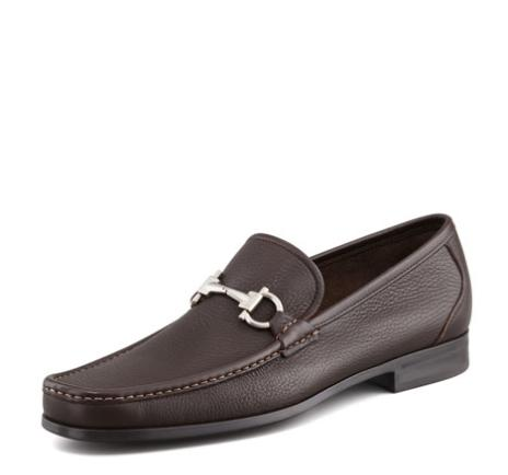 Salvatore Ferragamo Magnifico Textured Calfskin Gancini Loafer with Rubber Sole, Brown