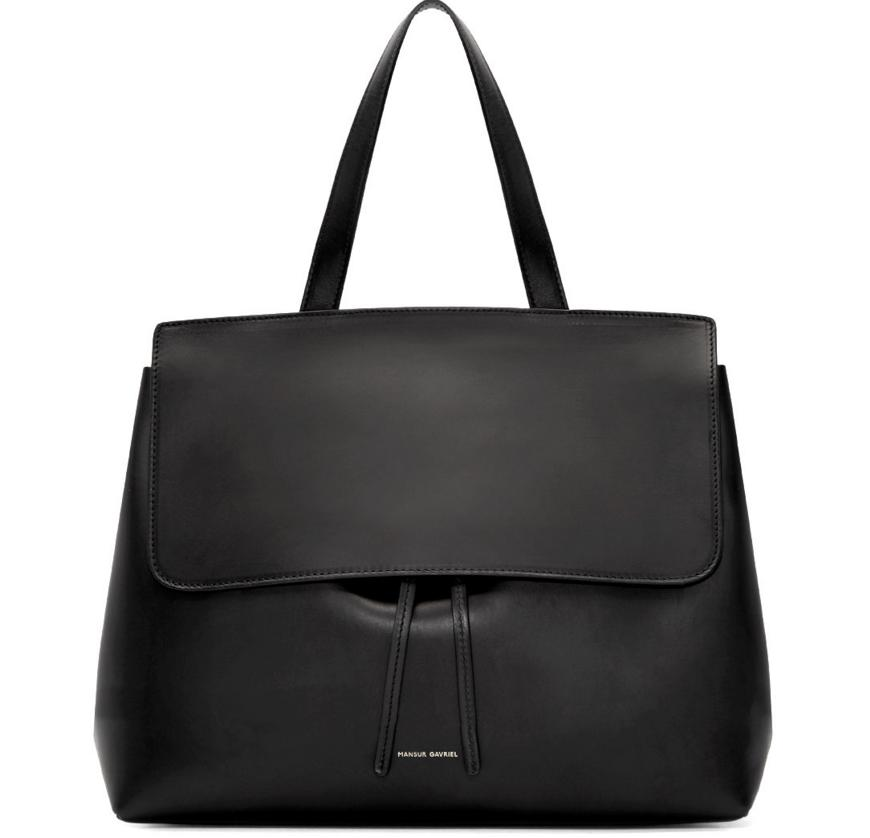$895 Mansur Gavriel  Black Leather Lady Bag  @ SSENSE
