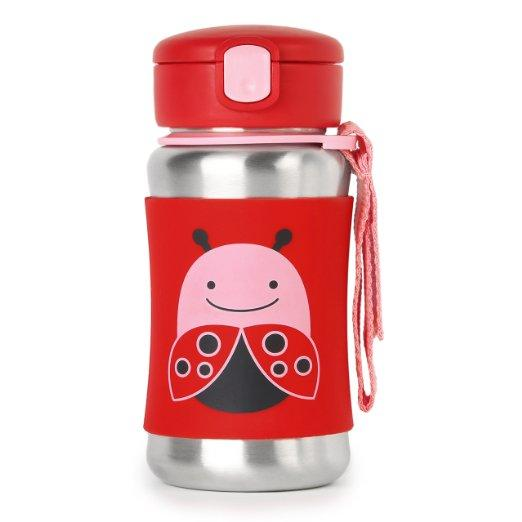 Lowest price! $12.99 Skip Hop Zoo Stainless Steel Straw Bottle, Ladybug