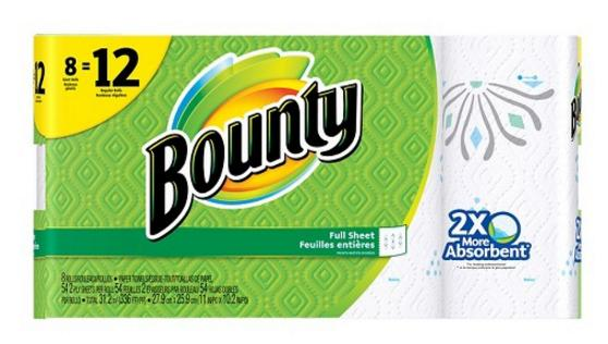 $23.97+$10 Gift Card 3x Bounty Printed Paper Towels 8 Giant Rolls