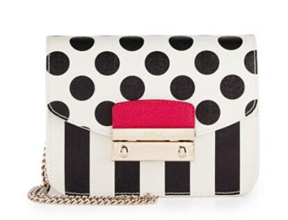 Furla  Julia Mini Striped & Polka Dot Leather Crossbody Bag, Onyx/Petalo @ LastCall by Neiman Marcus