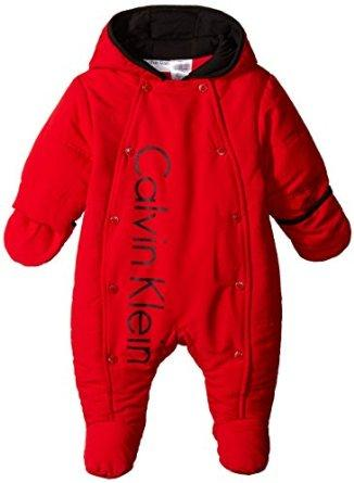 Calvin Klein Baby Boys' Red Shiny Microfiber Quilted Pram