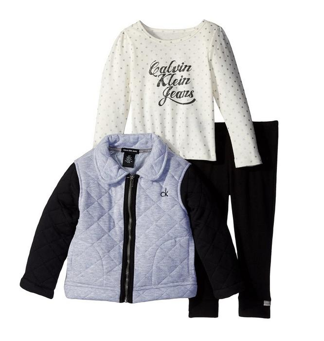 From $11.6 Calvin Klein Little Girls' Gray Quilted Jacket with Tee and Pants