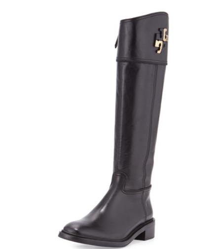 Tory Burch Lowell Logo Riding Boot, Black  @ Neiman Marcus