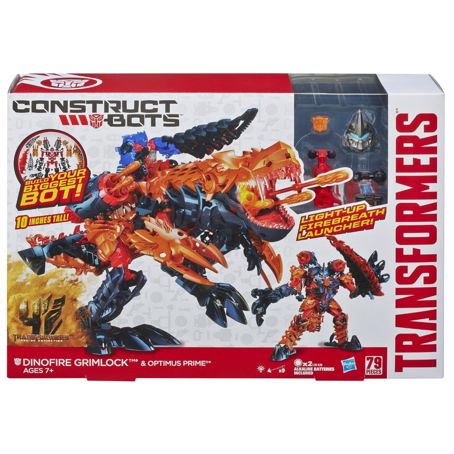 $9.06 Transformers Age of Extinction Construct-Bots Dinofire Grimlock and Optimus Prime Set