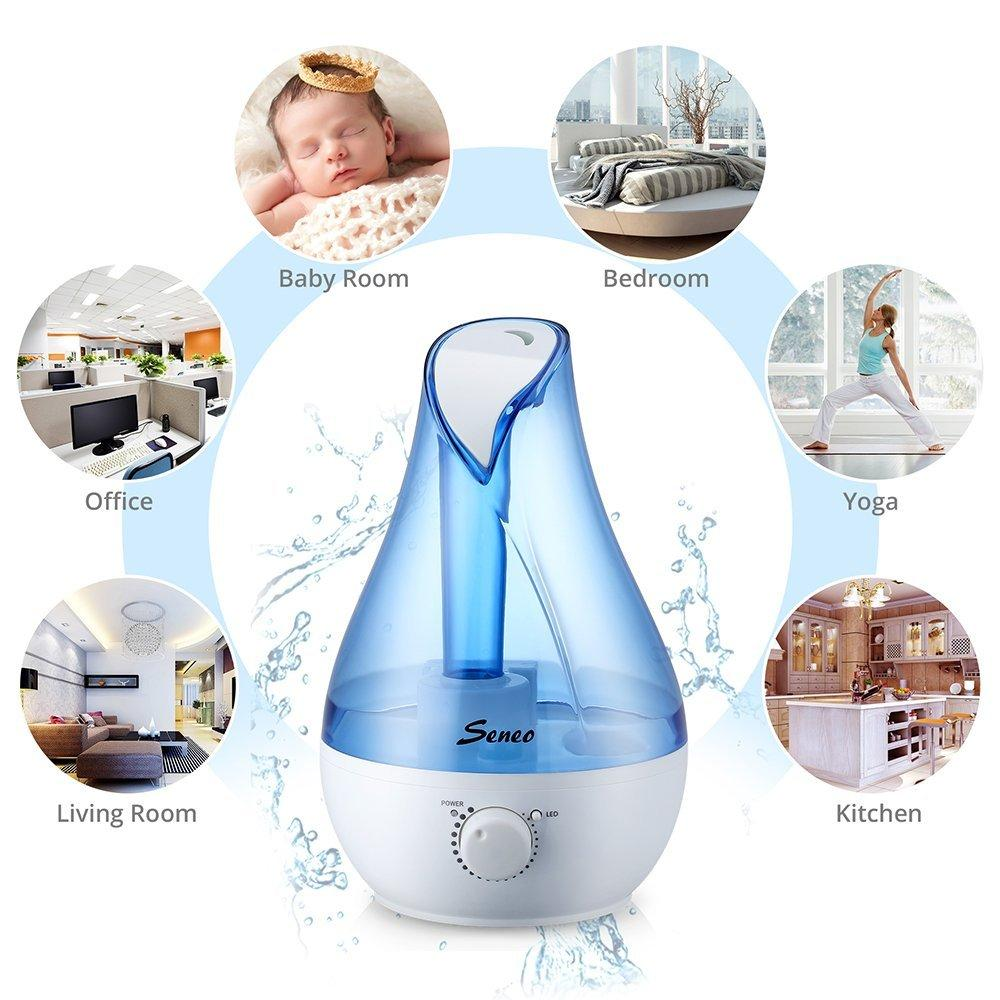 Seneo 2.6L Ultrasonic Cool Mist Humidifier, Essential Oil Diffuser 7 Color Changing LED Lights