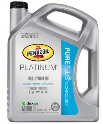Pennzoil 550038221 Platinum 5W-30 Full Synthetic Motor Oil API GF-5- 5 Quart Jug