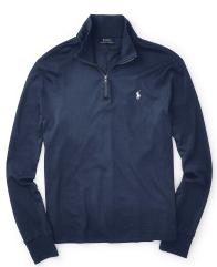 Ralph Lauren Suede-Trim Cotton Pullover