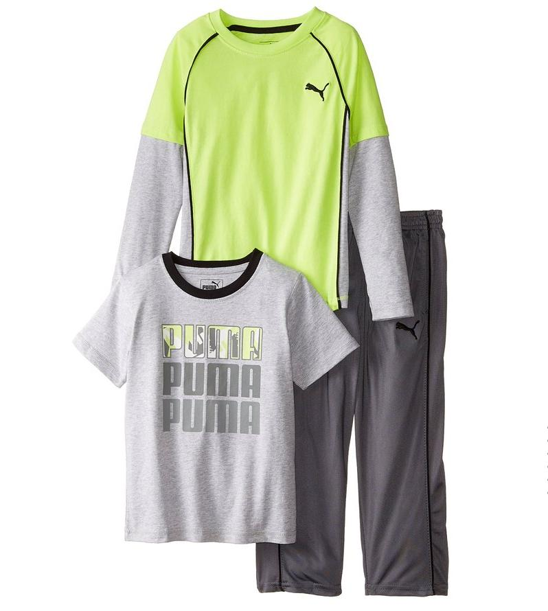 PUMA Little Boys' 3 Piece Twofer Tee and Pant