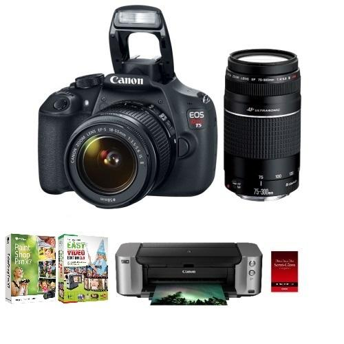 Canon EOS Rebel T5 18MP SLR Camera + 18-55mm & 75-300mm Lenses + Pro 100 Printer/Paper