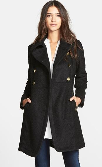 GUESS Double Breasted Bouclé Cutaway Coat (Regular & Petite) @ Nordstrom