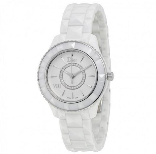DIOR VIII Diamond Silvered Dial White Ceramic Ladies Watch