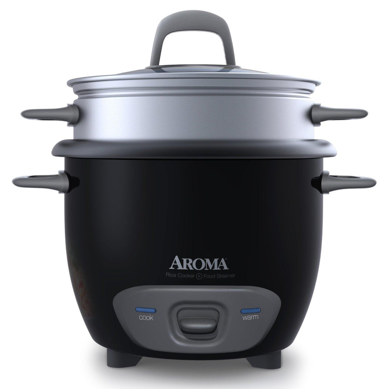 Aroma 6-Cup (Cooked) (3-Cup UNCOOKED) Pot Style Rice Cooker and Food Steamer