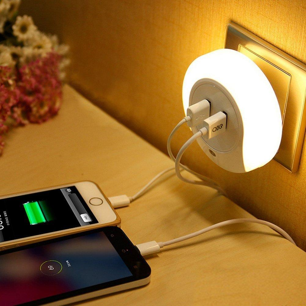 Zitrades LED Night Light with Dusk to Dawn Sensor and Dual USB Wall Plate Charger
