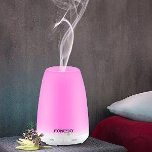 100ml Essential Oil Diffusers, Foneso Aromatherapy Ultrasonic Cool Mist Aroma Humidifiers with Auto Shut-off and 7 Color LED Lights