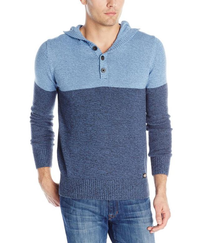 Dickies Men's Color-Block Henley Sweater with Hood