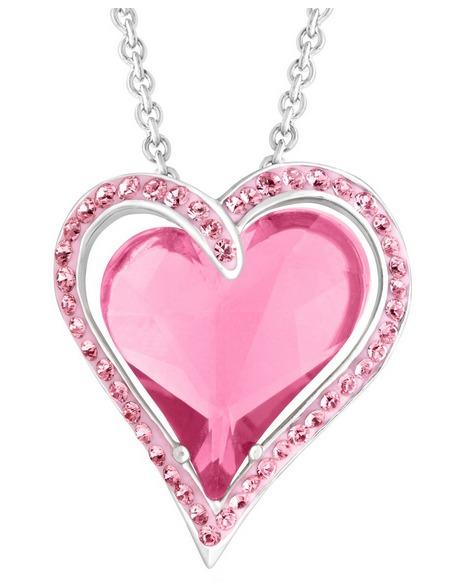 Double Heart Pendant with Rose Swarovski Crystals